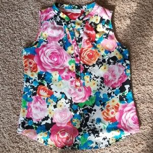 New York & Company Floral Tank Top size small